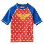 Girls 4-6x Wonder Woman Short Sleeve Rashguard