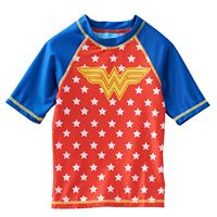 Girls 4-6x Wonder Woman Short Sleeve Rashguard