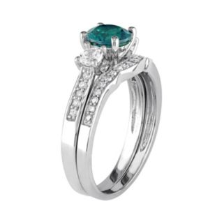 10k White Gold Lab-Created Emerald, White Sapphire & 1/6 Carat T.W. Diamond Engagement Ring Set