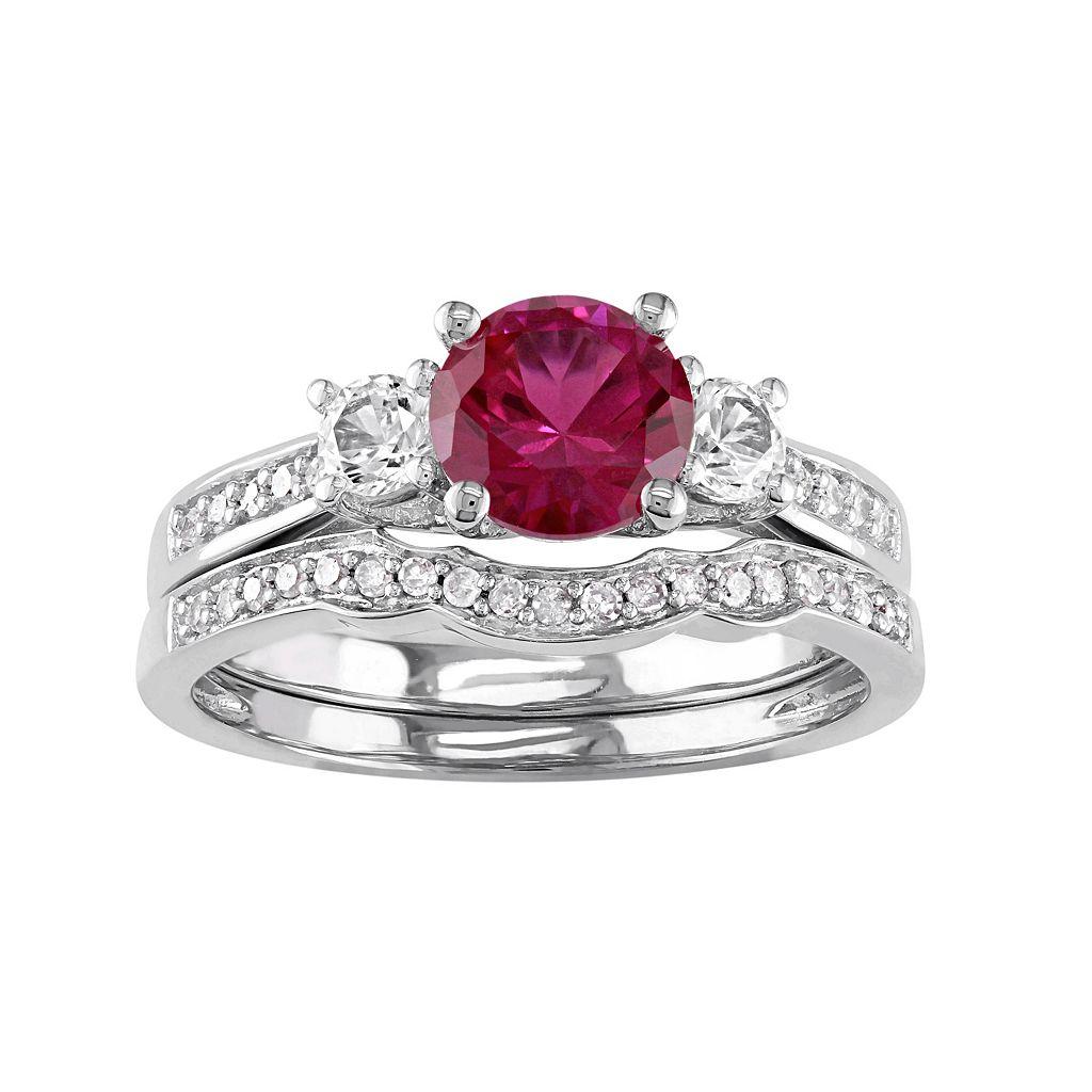 10k White Gold Lab-Created Ruby, White Sapphire & 1/6 Carat T.W. Diamond Engagement Ring Set