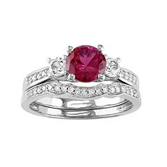 10k White Gold Lab-Created Ruby, White Sapphire & 1/6 Carat T.W. Diamond Engagement Ring Set