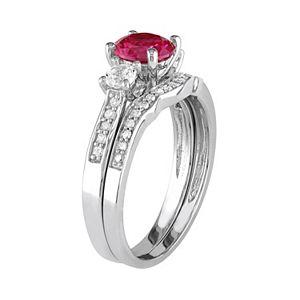 Stella Grace 10k White Gold Lab-Created Ruby, White Sapphire & 1/6 Carat T.W. Diamond Engagement Ring Set