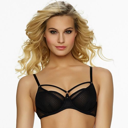 Jezebel Bra: Niki Sheer Stripe Unlined Demi Bra 119978 - Women's
