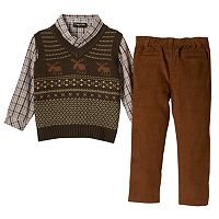 Toddler Boy Only Kids Apparel Gray Argyle Sweater Vest, Plaid Shirt & Corduroy Pants Set