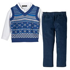 Toddler Boy Only Kids Apparel Gray Argyle Sweater Vest, Plaid Shirt & Corduroy Pants Set