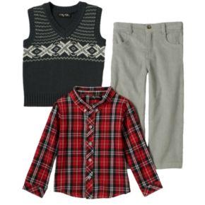 Baby Boy Only Kids Apparel Argyle Sweater Vest, Plaid Shirt & Corduroy Pants Set