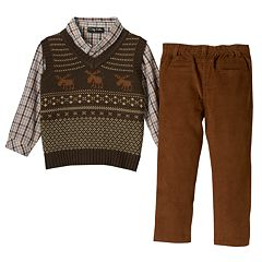 Baby Boy Only Kids Apparel Argyle Sweater Vest, Plaid Shirt & Corduroy Pants Set