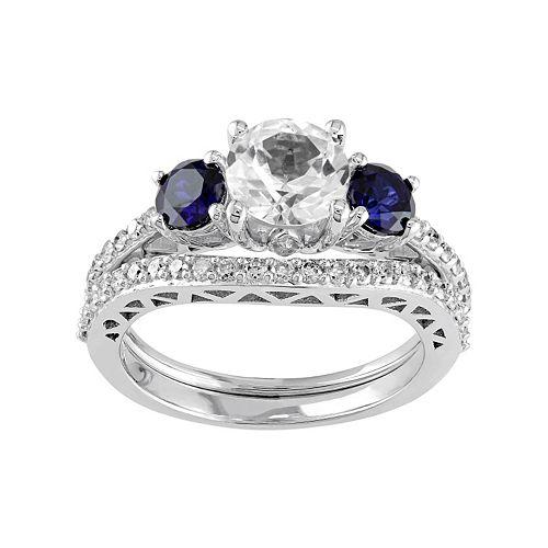 10k White Gold Lab-Created White & Blue Sapphire & 1/3 Carat T.W. Diamond Engagement Ring Set
