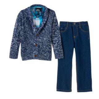 Toddler Boy Boys Rock Marled Sweater, Plaid Shirt & Jeans Set