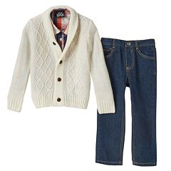 Toddler Boy Boys Rock Marled Sweater, Plaid Shirt & Jeans Set