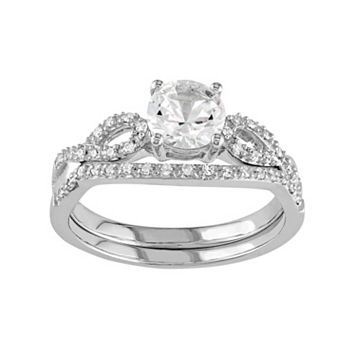 10k White Gold Lab-Created White Sapphire & 1/6 Carat T.W. Diamond Engagement Ring Set