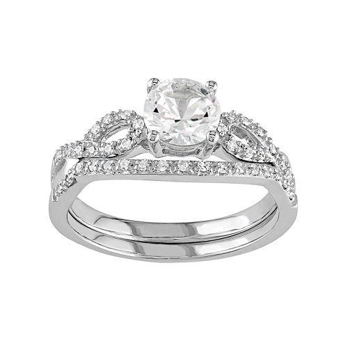 Stella Grace 10k White Gold Lab-Created White Sapphire & 1/6 Carat T.W. Diamond Engagement Ring Set