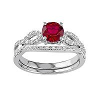 10k White Gold Lab-Created Ruby & 1/6 Carat T.W. Diamond Engagement Ring Set