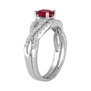 Stella Grace 10k White Gold Lab-Created Ruby & 1/6 Carat T.W. Diamond Engagement Ring Set