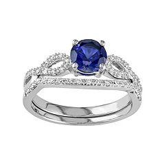 10k White Gold Lab-Created Sapphire & 1/6 Carat T.W. Diamond Engagement Ring Set