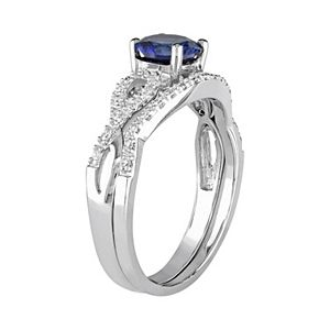 Stella Grace 10k White Gold Lab-Created Sapphire & 1/6 Carat T.W. Diamond Engagement Ring Set