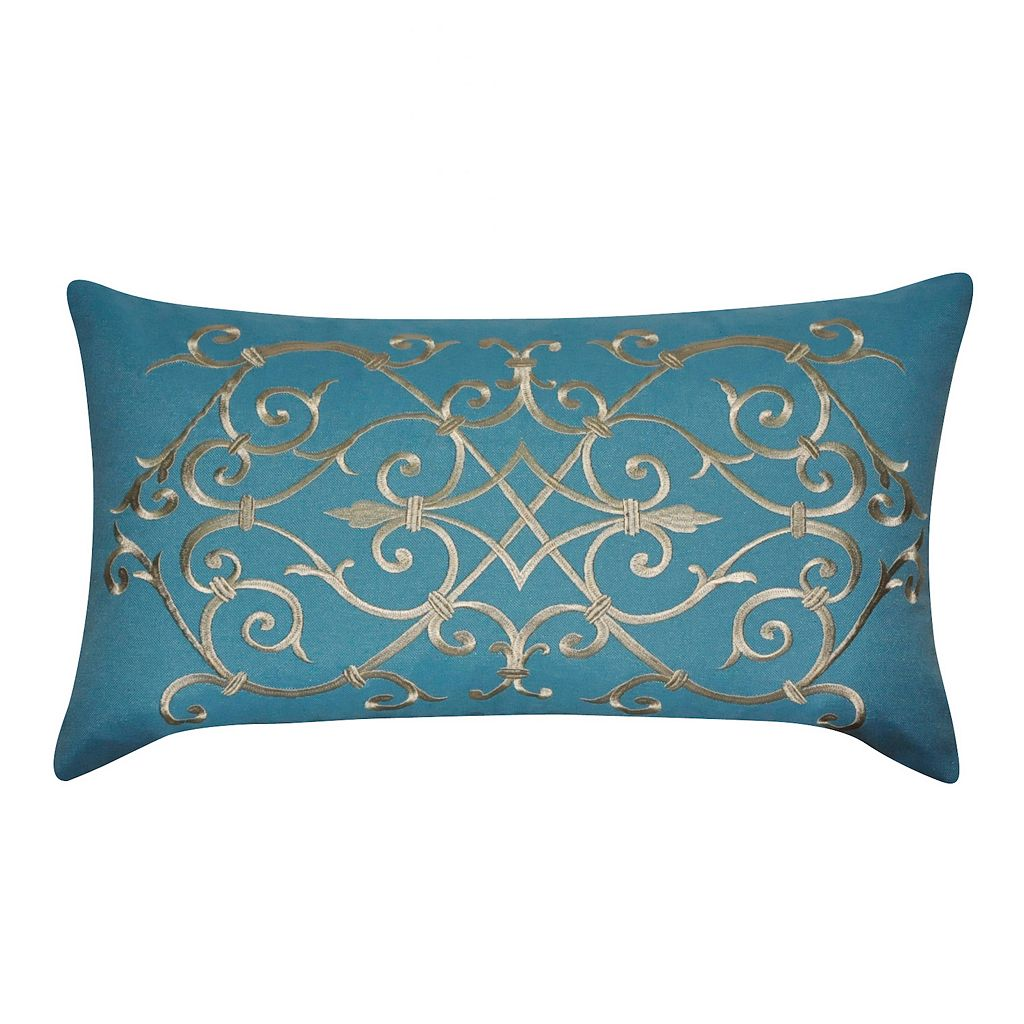 Loom and Mill Embroidered Iron Work Oblong Throw Pillow