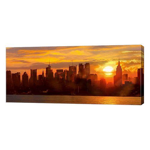 Metaverse Art Sunset Over Manhattan Canvas Wall Art