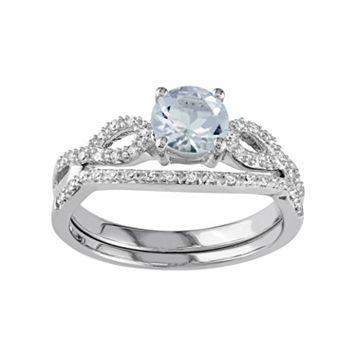10k White Gold Aquamarine & 1/6 Carat T.W. Diamond Engagement Ring Set
