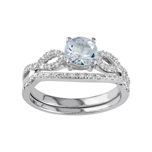 Stella Grace 10k White Gold Aquamarine & 1/6 Carat T.W. Diamond Engagement Ring Set