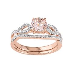 10k Rose Gold Morganite & 1/6 Carat T.W. Diamond Engagement Ring Set