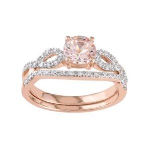 Stella Grace 10k Rose Gold Morganite 1 4 Carat T W Diamond