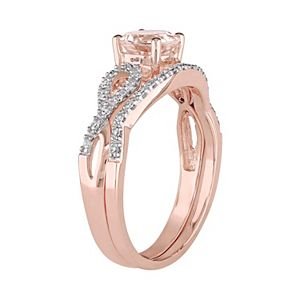Stella Grace 10k Rose Gold Morganite & 1/6 Carat T.W. Diamond Engagement Ring Set