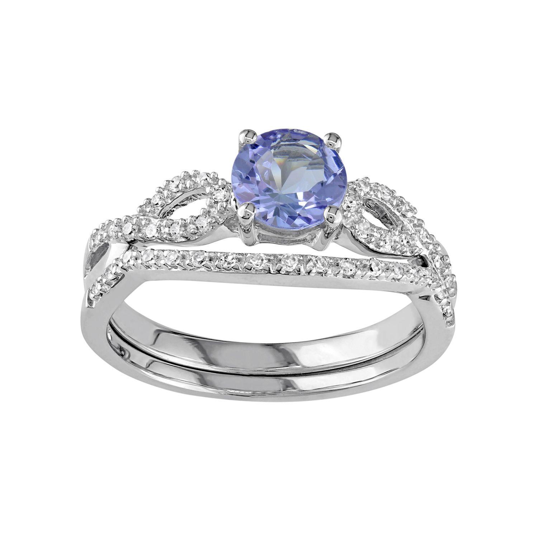 White Gold Tanzanite 16 Carat TW Diamond Engagement Ring Set