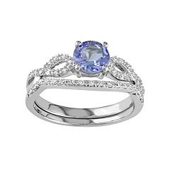 10k White Gold Tanzanite & 1/6 Carat T.W. Diamond Engagement Ring Set
