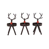 San Miguel Christmas Reindeer Votive Candle Holder 3-piece Set