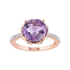 Stella Grace 10k Rose Gold Amethyst & 1/10 Carat T.W. Diamond Engagement Ring