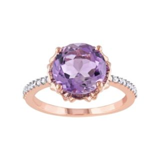 Stella Grace 10k Rose Gold Amethyst & 1/10 Carat T.W. Diamond Engagement Ring