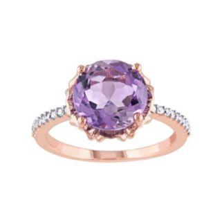 10k Rose Gold Amethyst & 1/10 Carat T.W. Diamond Engagement Ring