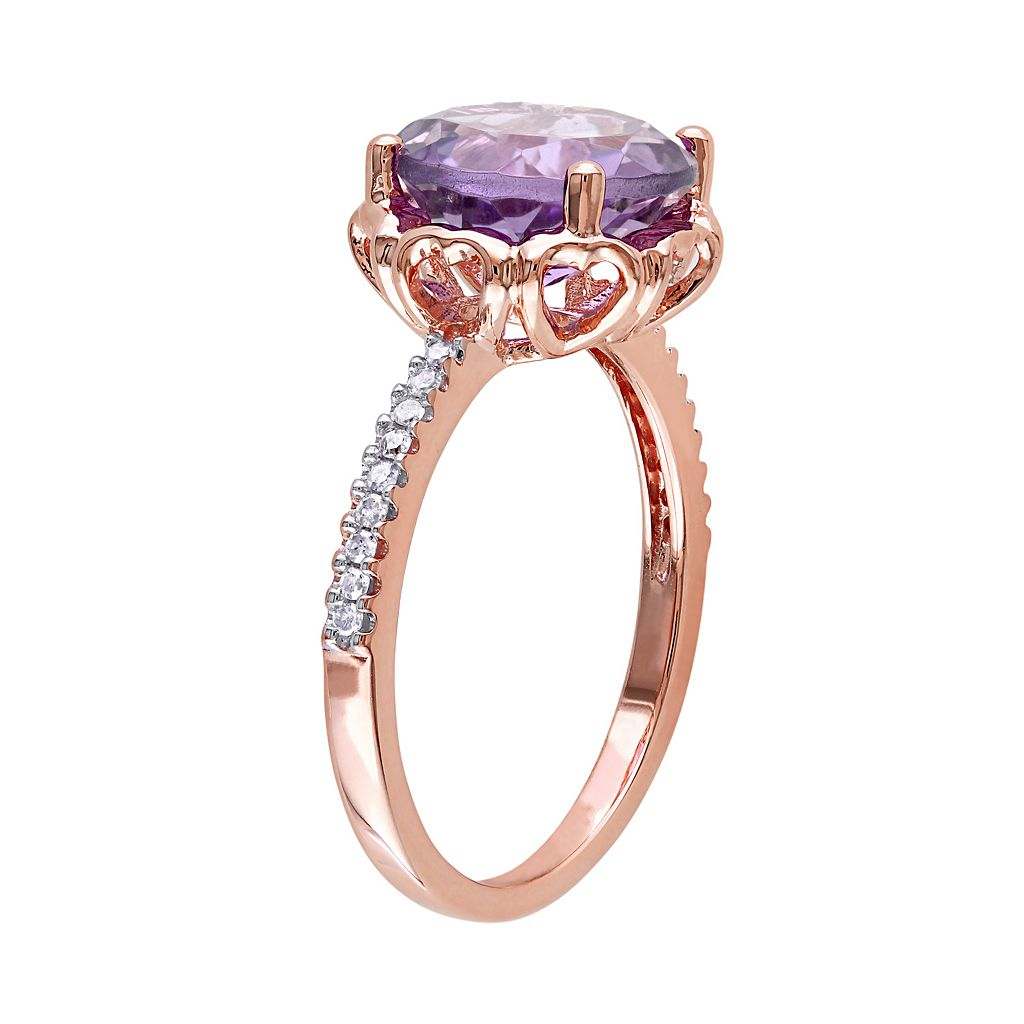 10k Rose Gold Amethyst & 1/10 Carat T.W. Diamond Engagement Ring