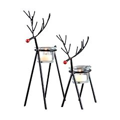 Sam Miguel Christmas Reindeer Votive Candle Holder 2-piece Set