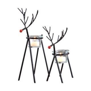 Sam Miguel Christmas Reindeer Votive Candle Holder 2-piece Set