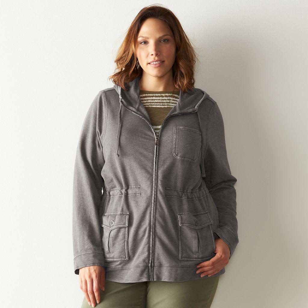 Plus Size SONOMA Goods for Lifeª French Terry Utility Jacket
