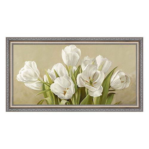 Metaverse Art Tulipani Bianchi Framed Canvas Wall Art