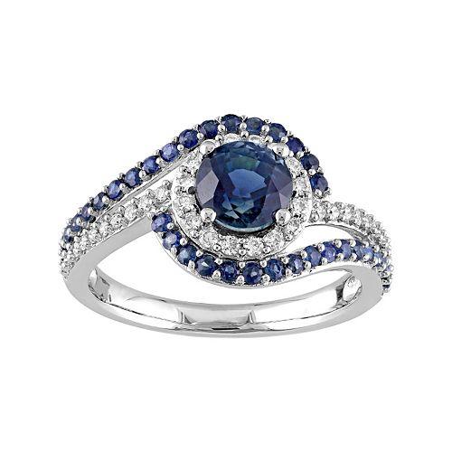 14k White Gold Sapphire & 1/4 Carat T.W. Diamond Bypass Engagement Ring