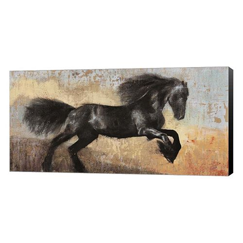 Metaverse Art Black Stallion Canvas Wall Art