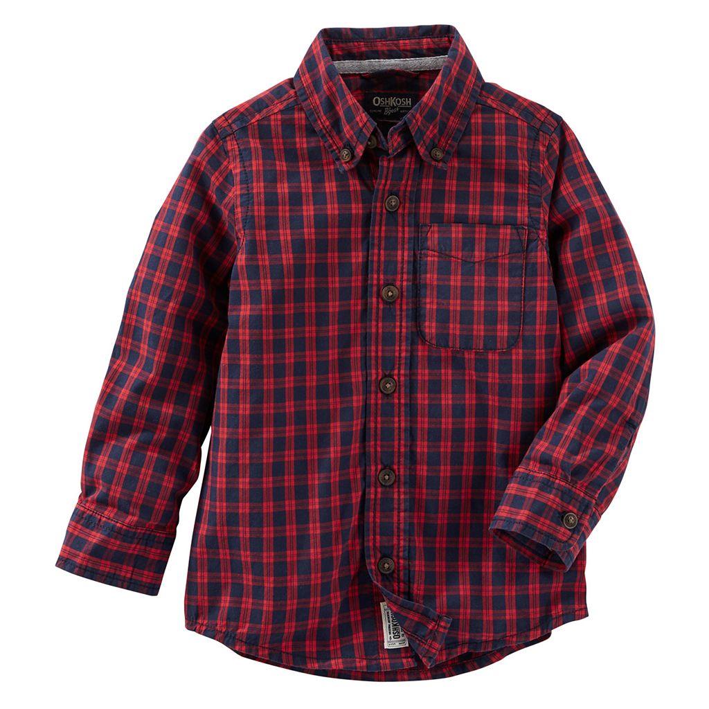 Boys 4-8 OshKosh B'gosh® Plaid Button-Down Long Sleeve Shirt