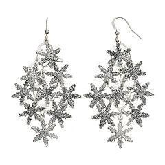 Christmas Glitter Snowflake Drop Earrings