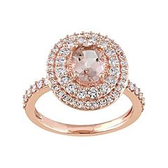 Stella Grace 14k Rose Gold Morganite & 9/10 Carat T.W. Diamond Oval Halo Engagement Ring