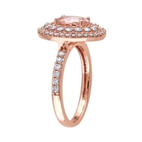 14k Rose Gold Morganite & 9/10 Carat T.W. Diamond Oval Halo Engagement Ring