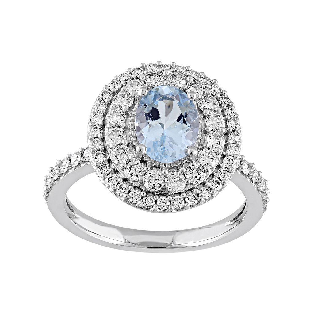 14k White Gold Aquamarine & 9/10 Carat T.W. Diamond Oval Halo Engagement Ring