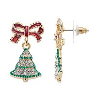 Bow & Christmas Tree Drop Earrings