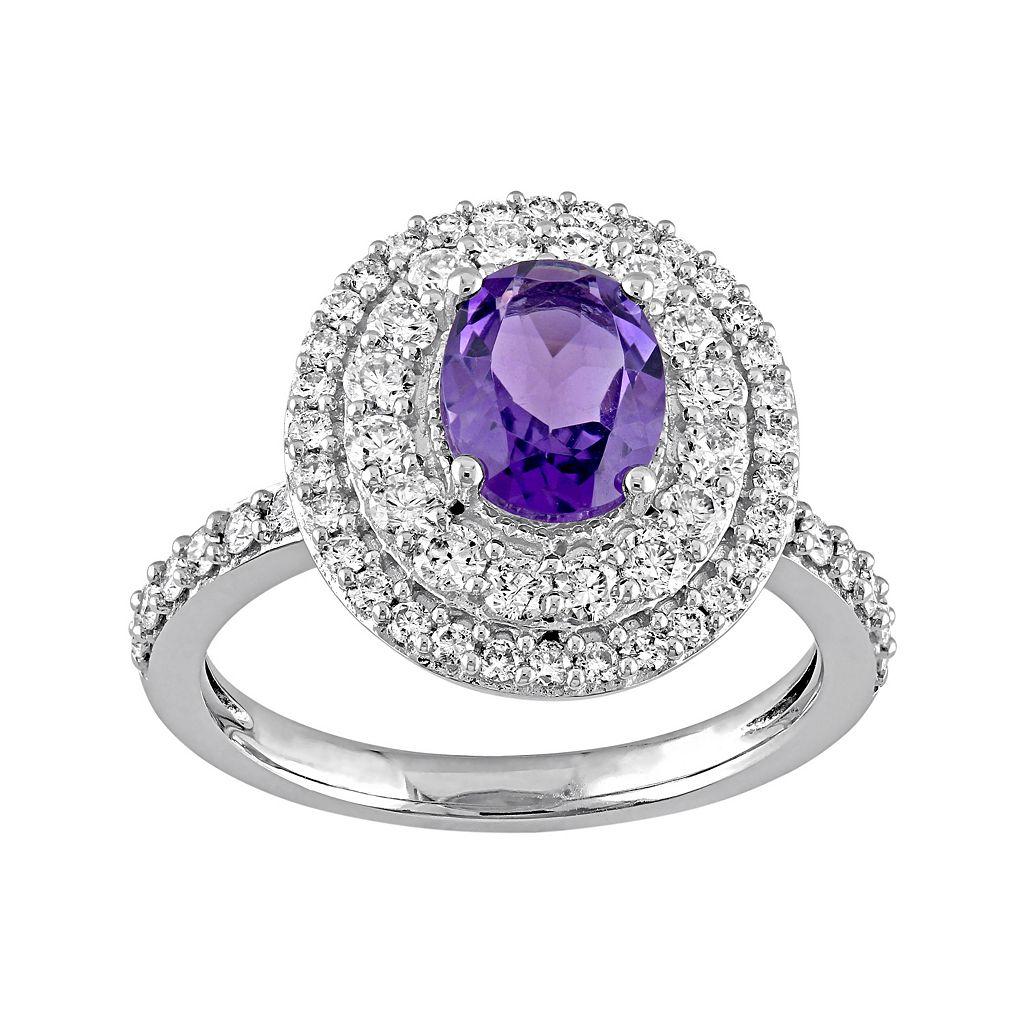 14k White Gold Amethyst & 9/10 Carat T.W. Diamond Oval Halo Engagement Ring