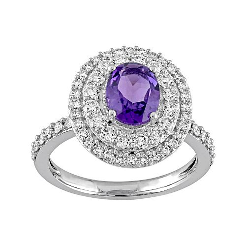 14k White Gold Amethyst & 9/10 Carat T.W. Diamond Oval Halo Engagement Ring