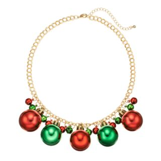 Jingle Bell and Ornament Necklace