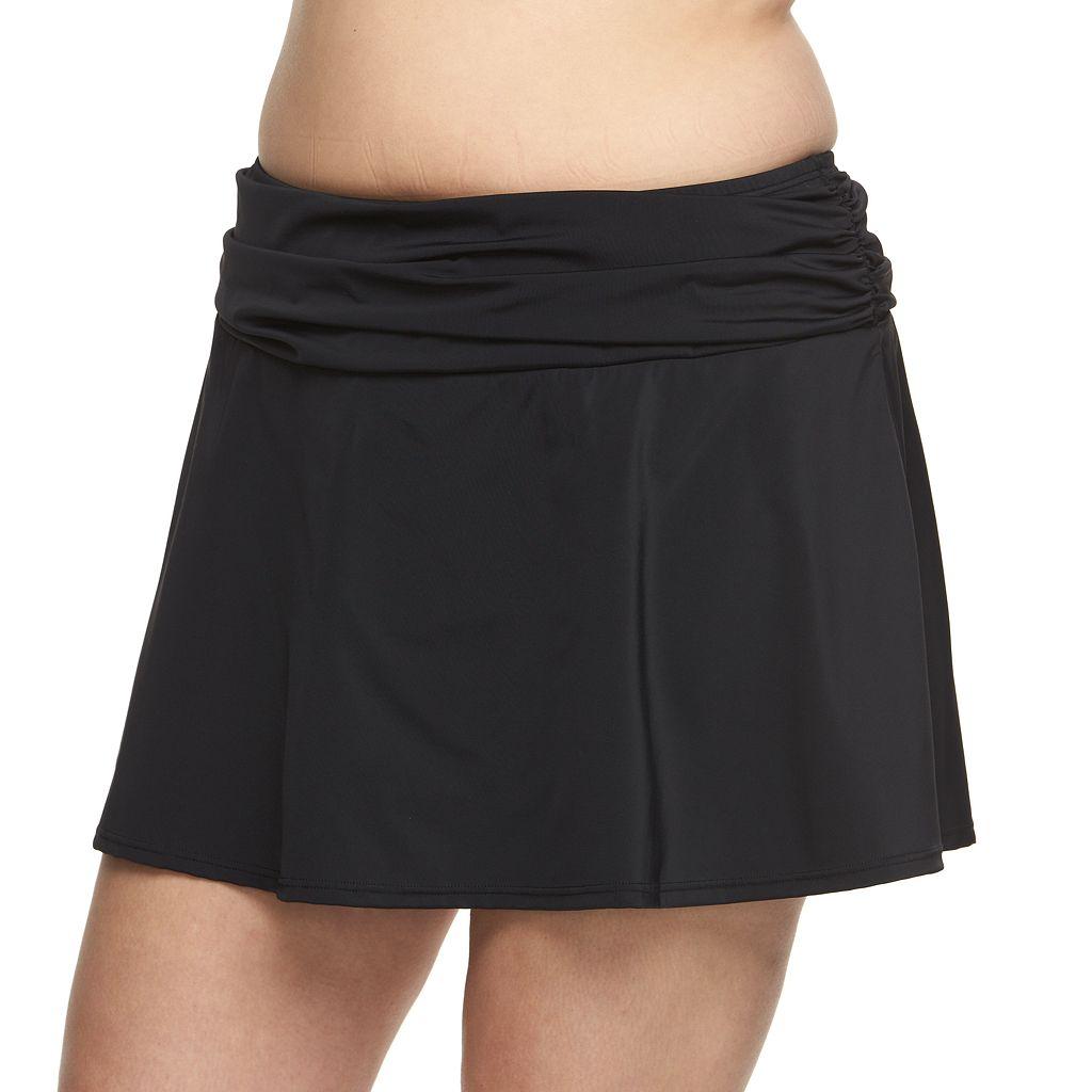 Plus Size A Shore Fit Hip Minimizer Cover-Up Swim Skirt